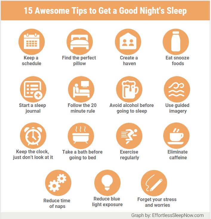 infographic with 15 tips to get a good night's sleep