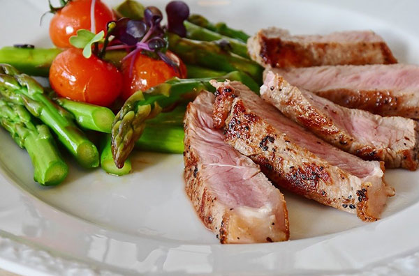 a balanced meal with meat and vegetables on a white plate